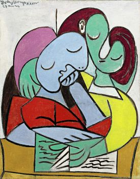 "Ten works by Pablo Picasso are up for sale at Sotheby's Impressionist and Modern Art sale, including this 1934 oil painting, ""Femmes lisant (Deux Personnages),"" worth $35 million."