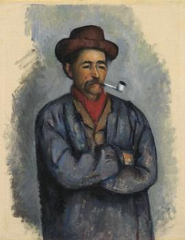 The Met exhibit includes numerous related pieces from Cézanne's card player series, including portraits of some of the men he used as models — such as 'Man With Pipe,' from 1890-02.