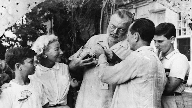 Jeffrey Lyons and his brothers with Ernest and Mary Hemingway and Leonard Lyons at Finca Vigia, San Francisco de Paola, Cuba, December 1952.