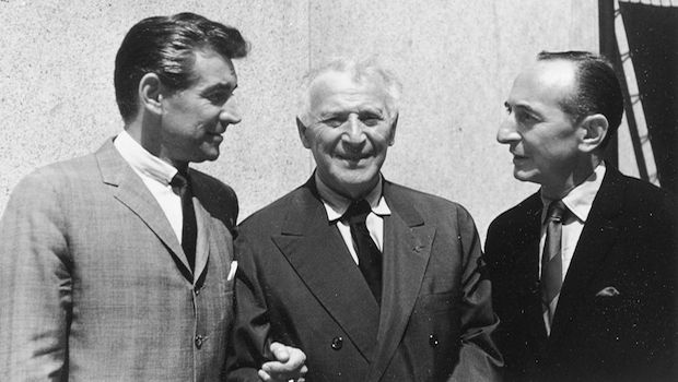 Leonard Bernstein, Marc Chagall, and Leonard Lyons, July 1960.