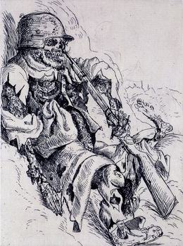 Dix, like Goya before him, was assiduous in documenting war's horrors. Above, a dead sentry in a trench.
