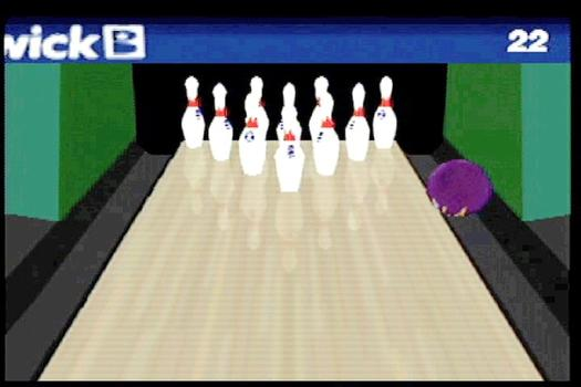 A still from Arcangel's bowling piece, a hacked video self-playing video game in which the player always rolls a gutter ball. (Clearly inspired by my style of bowling.)