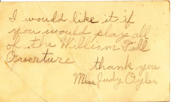 Judy Oyler - January 8, 1950 (postmark)