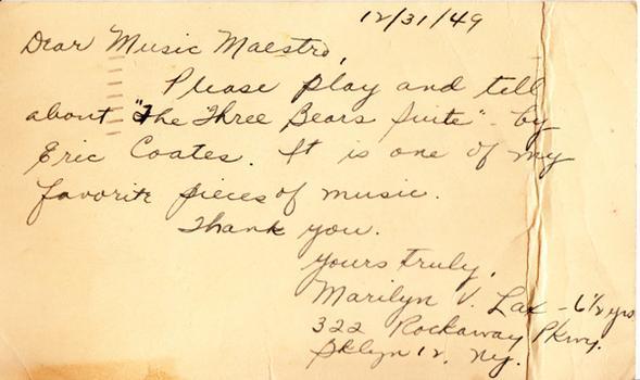 Marilyn V. Lax - December 31, 1949 (postmark)