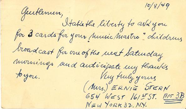 Mrs. Ernie Stern - October 16, 1949 (postmark)