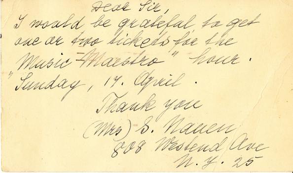 Mrs. S. Nauen - April 10, 1949 (postmark)