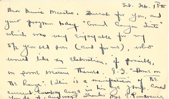 Mrs. E. Pomerance - February 20, 1950 (postmark)