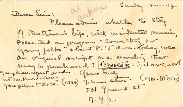 Mrs. J. Macateer - April 14, 1948 (postmark)
