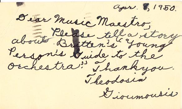 Theodosia Gioumousis - April 11, 1950 (postmark)