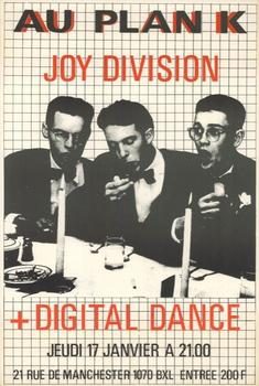 """Au Plan K,"" a poster for a Joy Division concert in Brussels in 1980. The graphics were often intentionally crude, a way of deconstructing slick commercial imagery."