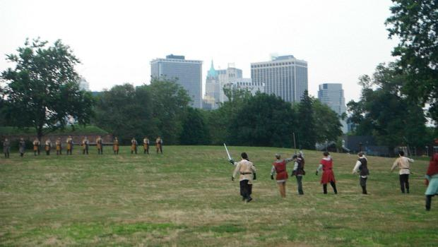 "The big moment in ""France"" comes as the audience storms the battlefield for the Battle of Agincourt. ""I brought my New York attitude,"" said one audience member about his biggest weapon."