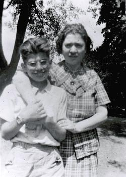 The poet with his mom in the late 1930s after she returned from a long stay at the hospital.