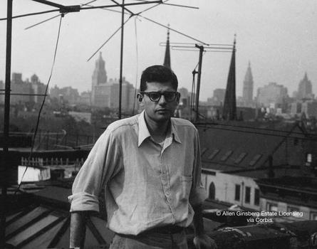 Ginsberg in the fall of 1953 on the roof of E. 7th St. in Manhattan.