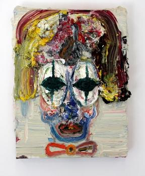 And yes, there is a clown painting. (There always should be, as far as I'm concerned.) It's a canvas by Allison Schulnik called 'Green Eyes.'