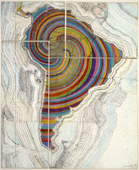 Downey trained as an architect and his body of work also included drawings of maps and patterns, such as 'America is Back Together,' from 1972.