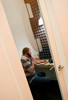 "When they need more quiet and privacy, AppNexus employees can use ""phone booths,"" complete with soundproofing foam."