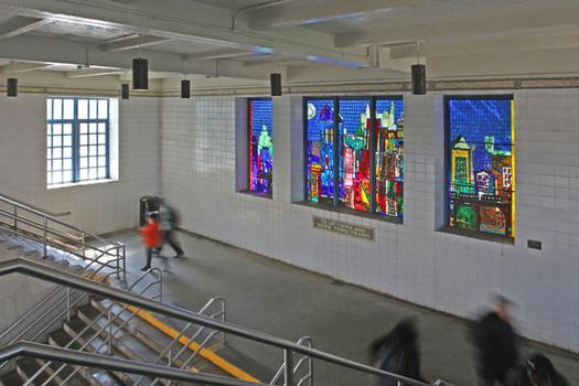 'City of Glass' (1993) by Romare Bearden Foundation/Licensed by VAGA, New York, NY. Westchester Square–East Tremont Avenue Station.