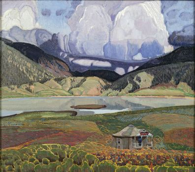 """The Lake"" by Ernest Leonard Blumenschein is an oil on canvas made in 1923."