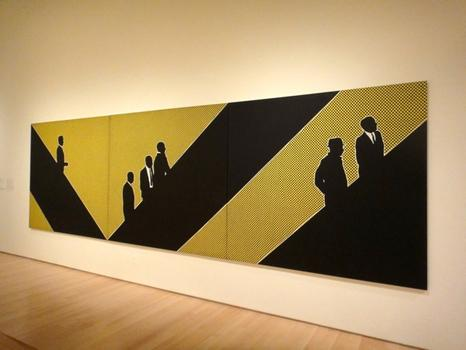 'Munchkins I, II & III' by Idelle Weber, circa 1964, also at the Brooklyn Museum — a pop canvas inspired by Manhattan commuters.
