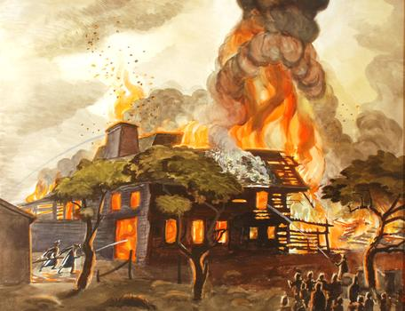 Elements aflame: Charles Burchfield's 1929 watercolor 'Pyramid of Fire (Pyramid of Flame),' at the Whitney Museum.