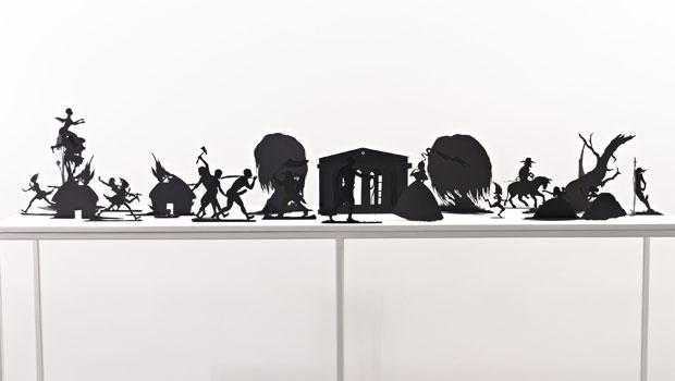 """Burning African Village Play Set with Big House and Lynching"" by Kara Walker at the Brooklyn Museum."