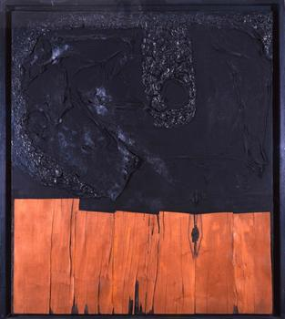Haunch of Venison will be showing work by three important post-war Italian artists. Alberto Burri's 'L.P. Nero 1,' from 1956 is shown here.