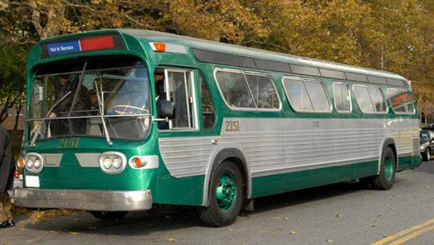 This 5301 silver New Look transit bus was made by General Motors in 1960.