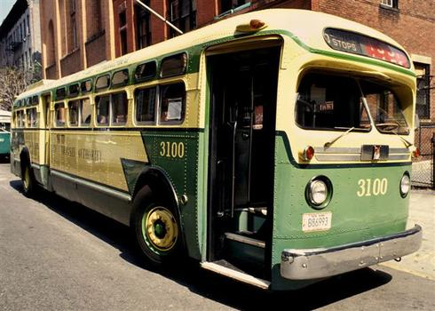 This 3100 green Old Look Transit bus was made by General Motors in 1956.