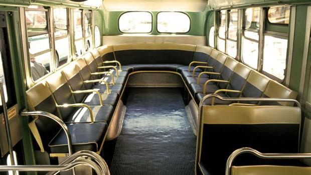 Interior of the 3100 green Old Look Transit bus.