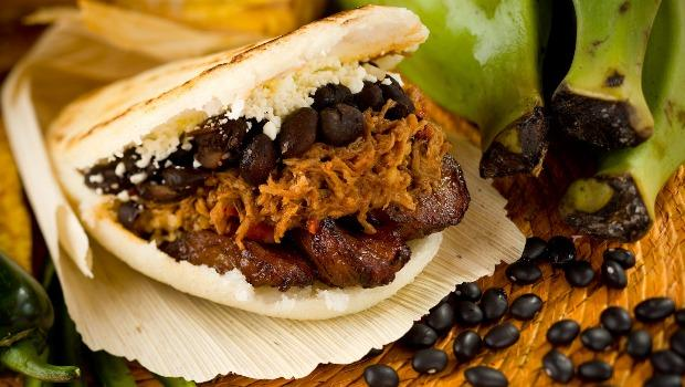 An Arepa Pabellon (shredded beef, black beans, white cheese and sweet plantains) from Caracas Arepa Bar on 106th St.