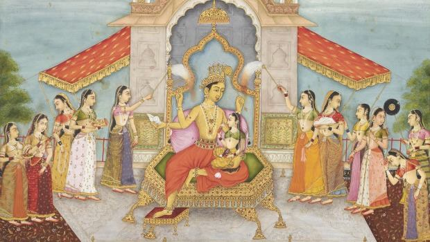"Another work at the Met: ""Vishnu with Lakshmi Enthroned, on a Roof Terrace"" by Ruknuddin, dated 1678."