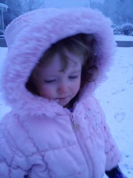 Cameron Stone, almost 3-years-old, enjoys the snow in South Carolina.