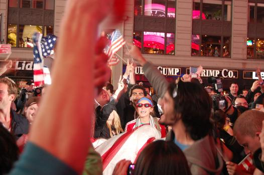 "Celebrators in Times Square chanted ""USA"" and sang songs into the early morning."