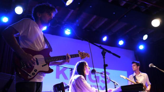 "Chairlift plays their second song, ""Amanaemonesia"" as the night winds to a close."