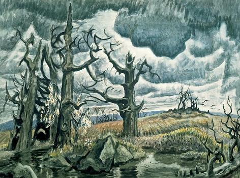 Burchfield captures the roiling power of nature in 'An April Mood,' a painting that he worked on from 1946 to 1955.