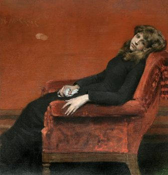 """The Young Orphan"" was painted by William Merritt Chase in 1884."