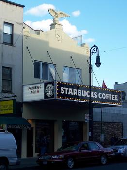 In Greenpoint, Starbucks preserved the eagle and the original marquee of the former Chopin Theatre.