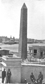 The obelisk as it stood in Alexandria Egypt in 1880.