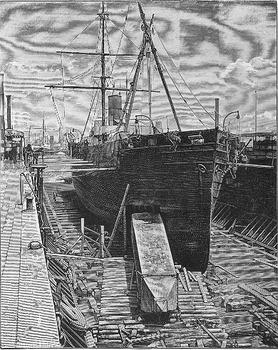 Cleopatra's Needle being loaded into the <em>Dessoug</em> steamship in 1880.