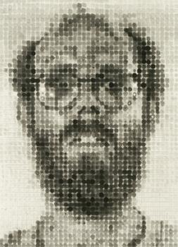 Chuck Close made this self-portrait, a spit-bite aquatint and soft-ground etching, in 1988.