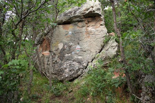 A boulder carved by Sudeith in Colorado. Some of these he does by invitation. Others are on the fly.