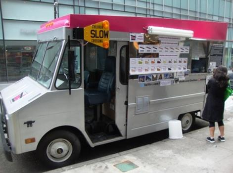 The Coolhaus New York truck sells gourmet ice cream sandwiches. Starting Thursday, 4/28 through Sunday 5/1 they will be on the street in NYC serving frozen treats for free.