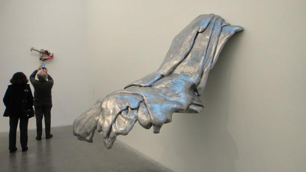 """Wing,' 1970, a sculpture made out of cast aluminum. Many of the metallic sculptures were an attempt to create more permanent versions of her pour polyurethane works."