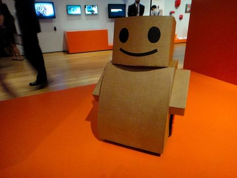 "At MoMA's tech-design show ""Talk To Me,"" Kacie Kinzer's ""Tweenbot."""