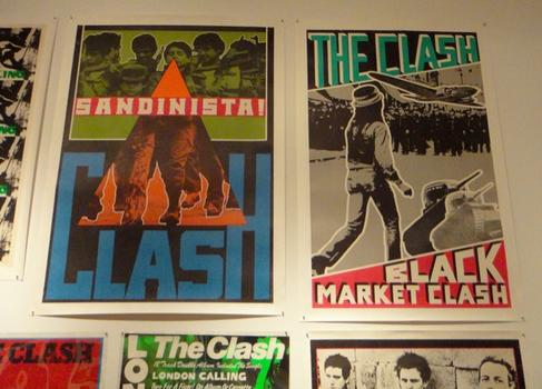 1980s punk and new wave poster styles borrowed from constructivism and pop — such as these images advertising The Clash.