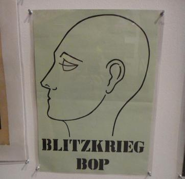 Some of the ephemera includes the simplest of designs — including this 'Blitzkrieg Bop' poster for the Ramones.
