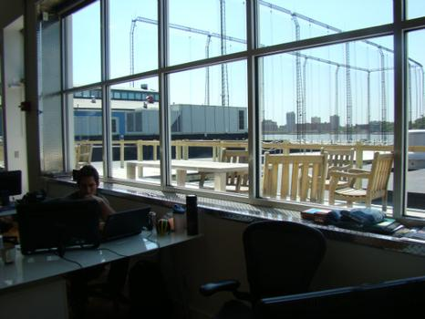 The offices of 2Tor, an online education start-up, include an outdoor deck, overlooking Chelsea piers.