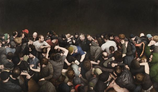 At Jonathan LeVine Gallery in Chelsea: Dan Witz's bodies in motion. Shown here: 'ABC No Rio,' a painting from 2011.