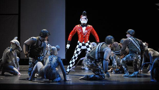 David Leventhal as the Nutcracker and Utafumi Takemura as the Rat King in the Battle Scene of 'The Hard Nut.'