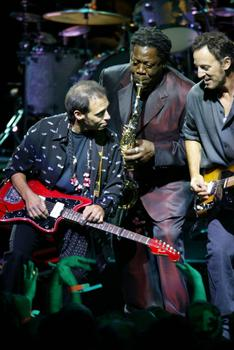 Lofgren, Clemons and Springsteen perform during the first show of the 'Bruce Springsteen & the E Street Band' in 2002 at the Continental Airlines Arena in East Rutherford, NJ.
